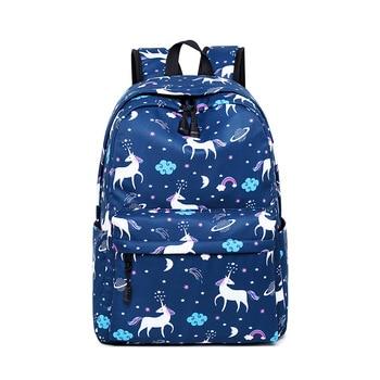Unicorn Printing Backpack, BookBag with Purse