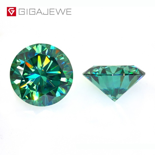 GIGAJEWE مويسانيتي 1.0ct الأخضر الداكن قطع مستديرة مختبر الماس جوهرة حجر فضفاض لتقوم بها بنفسك مجوهرات الأزياء صنع صديقة هدية