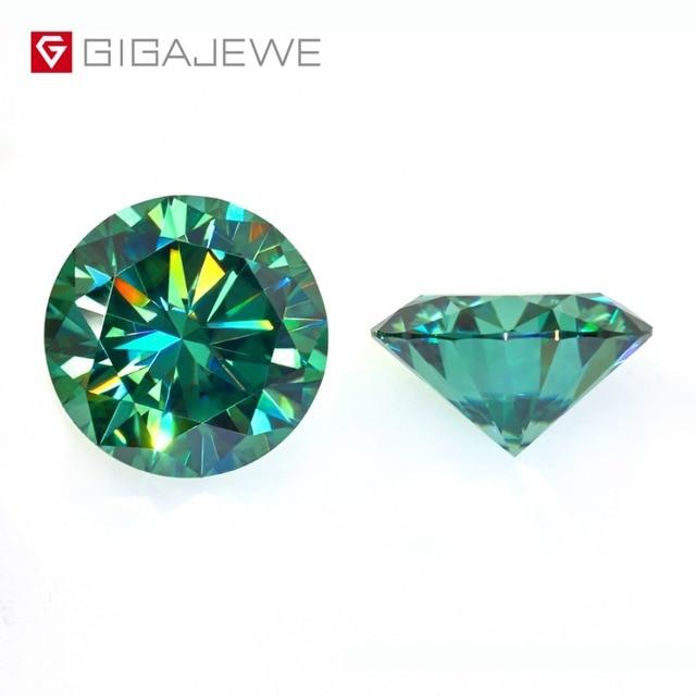 Камни GIGAJEWE с муассанитом карат, круглый темно зеленый лабораторный бриллиантовый камень для самостоятельного изготовления ювелирных изделий, подарок для девушки