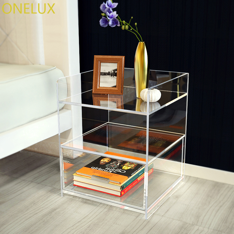 Clear acrylic bedside drawer table lucite nightstand for Perspex furniture