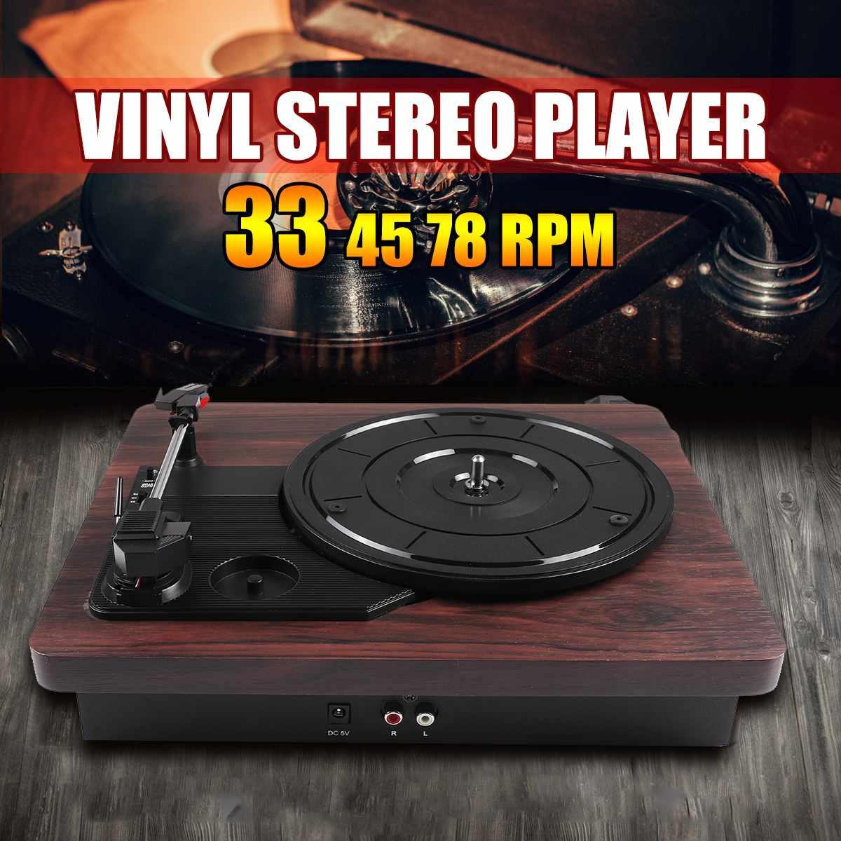 DC 5V Retro Stereo 33 45 78 RPM LP Three Speed Vinyl Record-Turntable Player Gramophone RCA R/L 3.5mm