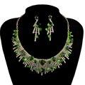 Color verde Cúbico Joyería Nupcial de La Boda Set Collar con Pendiente Para la Fiesta de Las Novias Accesorios de Joyería de Cristal