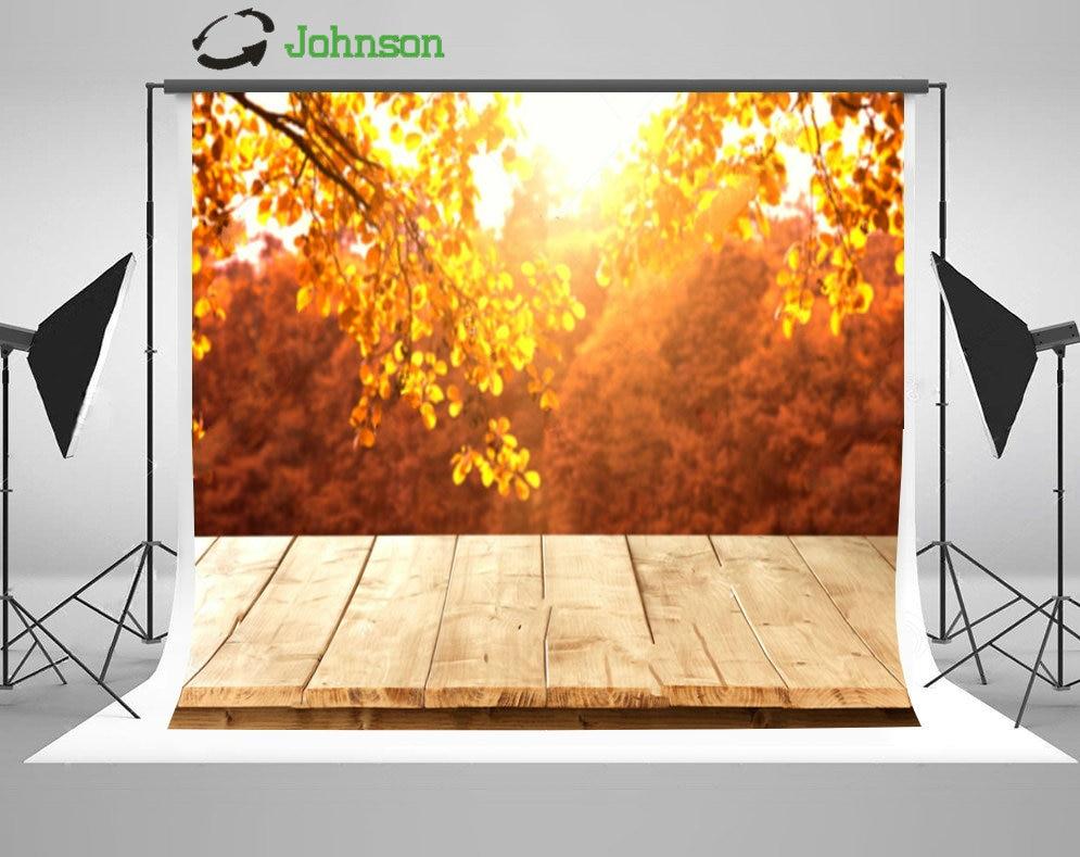 Деревянный Пирс осенние листья фон полиэстера или винилового ткань высокого качества Компьютер печати фоне стены