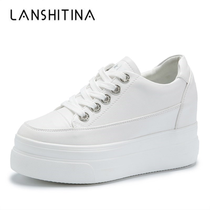 2018 New Casual Shoes Woman Autumn Comfortable Breathable Women White Shoes 8CM Heels Height Increasing Platform Sneakers Femme