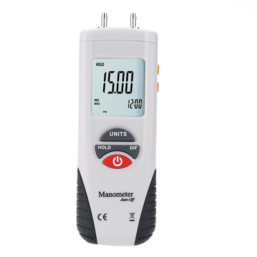 Mini Digital Manometer Differential Gauge Air Pressure Meter Data Hold 11 Selectable Units LCD backlight