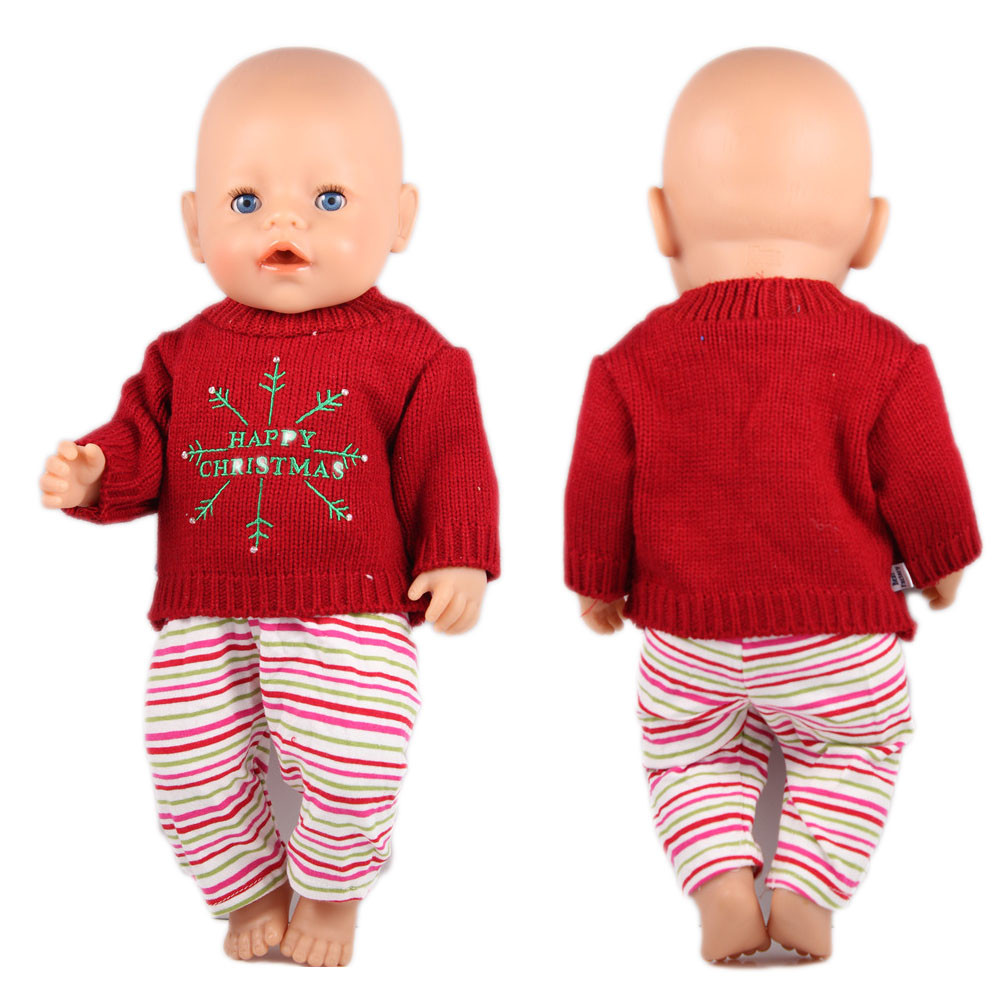 Christmas sweaters+Pant doll clothes Wear fit 43cm Baby Born zapf ,18 American Girl Doll Clothes , Children best Birthday Gift 2color choose leisure dress doll clothes wear fit 43cm baby born zapf children best birthday gift only sell clothes