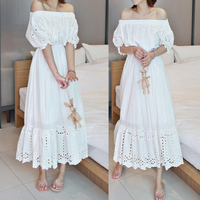 Free Shipping 2018 New Fashion Princess Cotton Embroidery Cutout One piece Long Mid calf White Dresses Off shoulder Dresses