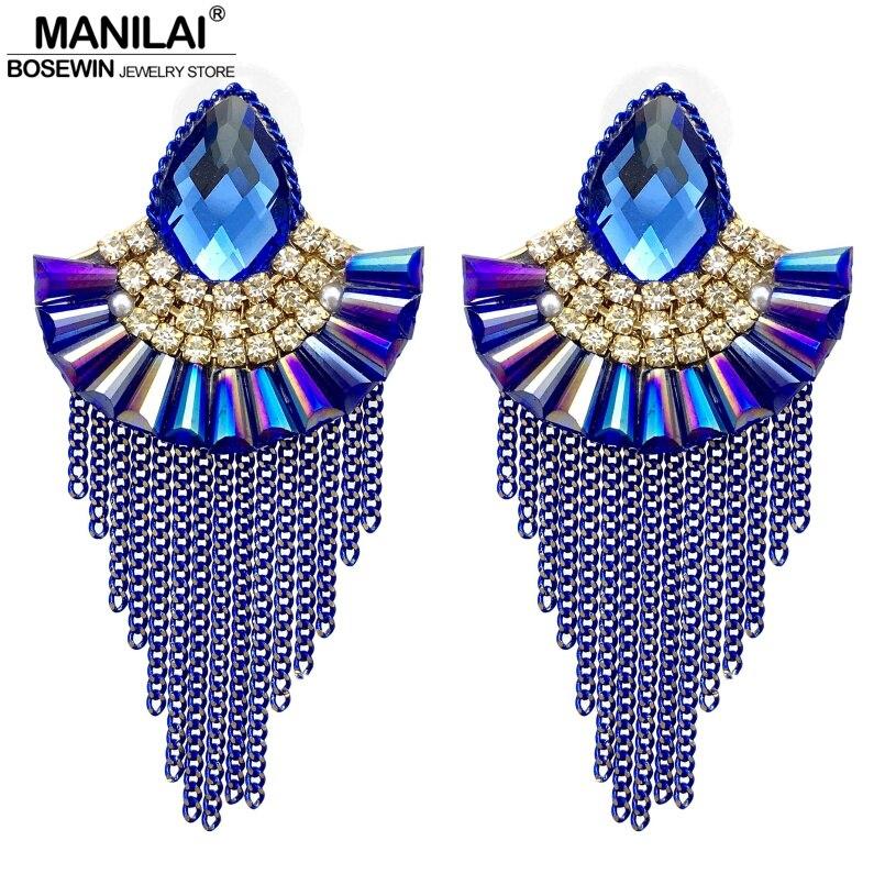 MANILAI Luxury Fanshaped Crystal Stud Earrings For Women