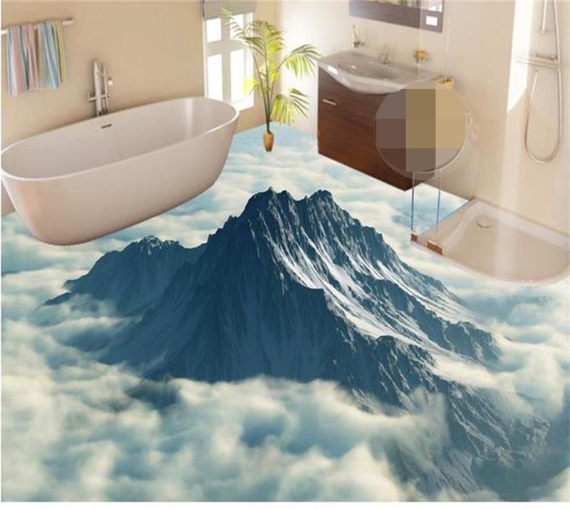 ФОТО 3D Flooring Wallpaper Custom Photo Wallpaper peak seas of clouds murals 3d floor Bathroom Self-adhesive PVC Waterproof Wallpaper