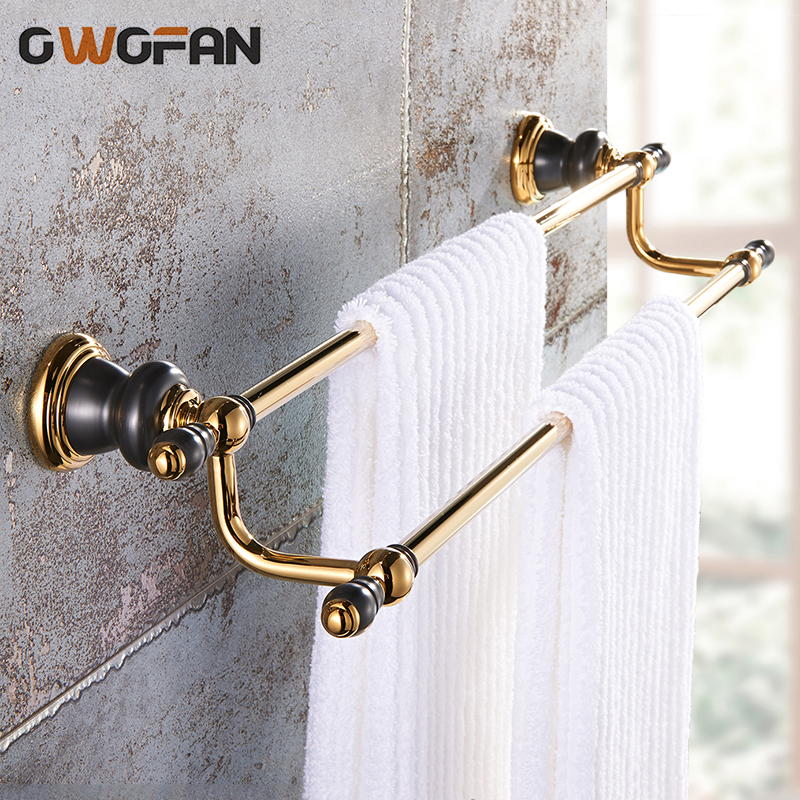 Towel Bars Luxury Jade Brass Double Towel Bar Golden Towel Holder Towel Rack Wall Mounted Bathroom Accessories XL-66830 2015 copper golden chrome bathroom accessories suite bathroom double towel bar soap bars brush holder discbathroom accessories