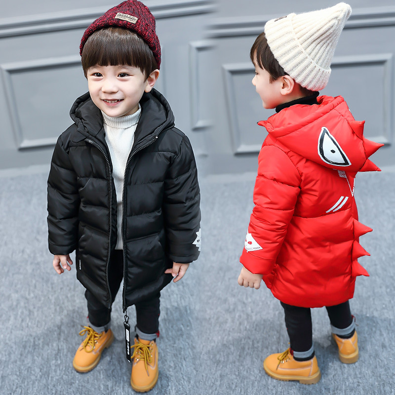Boys Winter Jacket Coat Baby Bebe Children Kids Cartoon Tyrannosaurus Parka Snowsuit Down Cotton Pad Clothes Hooded Coat Jacket girls winter jacket coat baby children kids warm parka long snowsuit down cotton pad clothes color fur collar hooded jacket