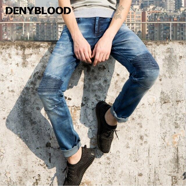 e5d6402f657 Denyblood Jeans 2017 Spring Summer Men Cargo Jeans Darked Wash Stretch Denim  Pants Slim Straight Pleated