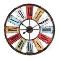 Настенные часы из кованого железа в американском стиле  ретро  промышленная ветровая панель  украшение для кафе  цветные настенные Креативн...