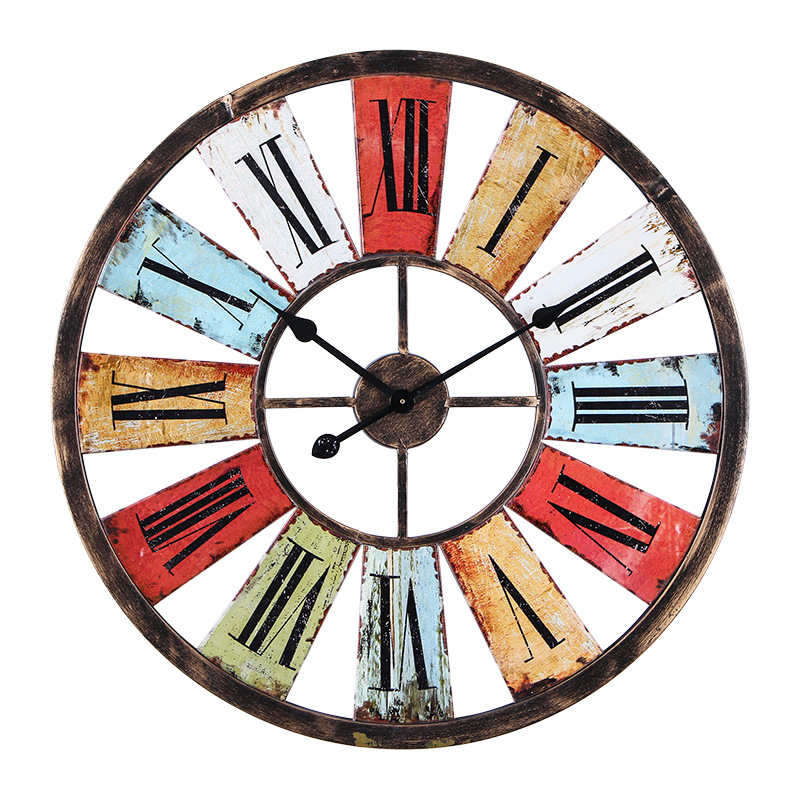 Wrought Iron Wall Clock American Country Retro Industrial Wind Bar Cafe Decoration Color Wall mounted Creative Home Decor Crafts|wall clock|iron wall clock|wrought iron wall clock - title=