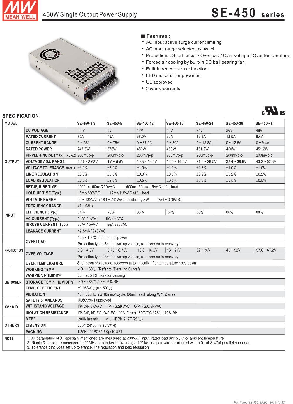HTB1LzzHSFXXXXbCXXXXq6xXFXXXy - Original Meanwell 24V 18.8A 450W SE-450-24 Switching Power Supply AC to DC 24V transformer UL 450W 24V dc industry power supply