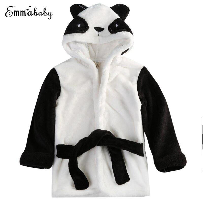 Eerlijk 2017 Kawaii Flanel Unisex Karakter Nachtkleding Gewaad Lente Winter Jongen Meisje Dier Gewaden Pluche Baby Baby Bad Badjas Panda