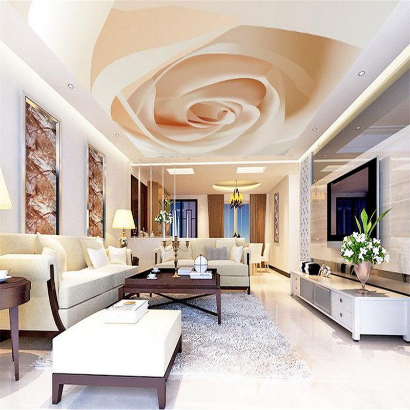 Custom 3 d Photo Wallpaper Ceiling Wall Mural Wall Picture Modern Living Room Decor Large Background Luxury One Rose Roof Mural