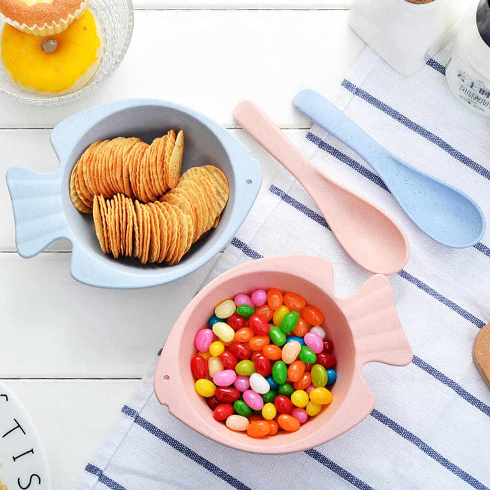 ฟางข้าวสาลีอาหารค่ำอาหารกลางวันชามพร้อมช้อนสำหรับเด็กน่ารักทำงานคนให้อาหาร prato infantil สำหรับทารกอาหาร miska dla dzieci