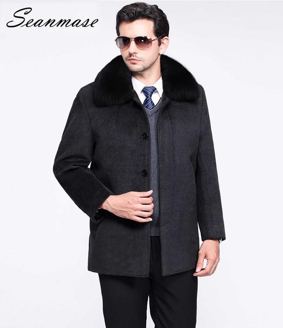 07eb374d27e Seanmase 2018 Winter Mens Cashmere Coat 100% Cashmere Jacket Wool Coat Men  Thick Plus Size