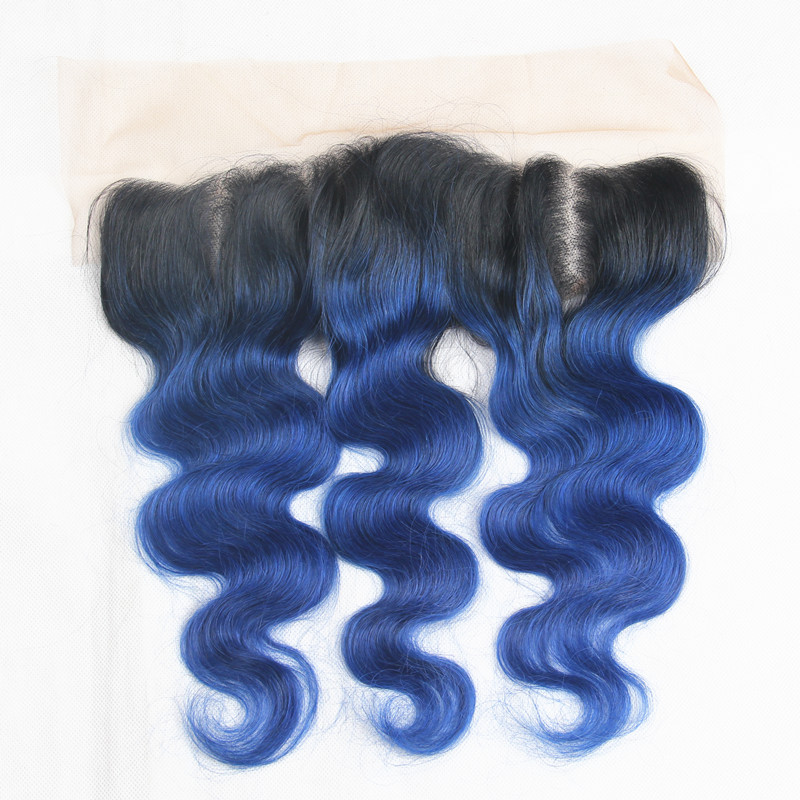 Closures Riay Hair 1b Ocean Blue Ombre Brazilian Body Wave Hair 13x4 Lace Frontal Ombre Closure Black Root Remy Hair