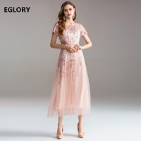 Best Quality Women Wedding Party Embroidery Dres 2018 Ladies Sexy Tulle Lace Short Sleeve Large Swing Dress Maxi Vestido Fiesta