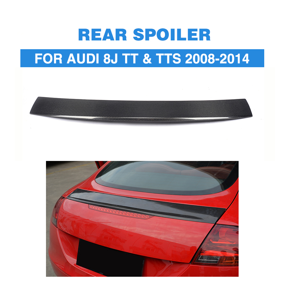 Carbon Fiber Rear Spoiler for Audi TT TTS MK2 8J 2008 2009 2010 2011 2012 2013 2014 Tail Trunk Lid Lip Wing Spoiler carbon fiber car rear bumper extension lip spoiler diffuser for bmw x6 e71 e72 2008 2014 xdrive 35i 50i black frp