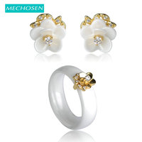 Bridal Jewelry Sets Earrings Rings White Black Ceramic Smooth Aros 18K Gold Plated Copper Flower Aretes