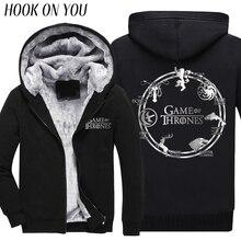 2017 Fashion Game of Thrones Men Winter Thicken Hoodie Deer Wolf Dragon Lion Print Animal Casual Fleece Cool Thermal Sweatshirt