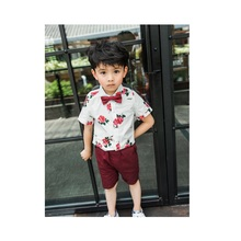 Toddler Kids Baby Boy Gentleman Clothes Summer Sets Floral Short Sleeve Bow Tie Shirts Shorts 2Pcs Party Formal Outfits 1-7Y
