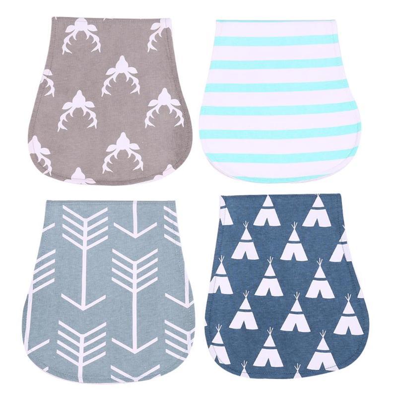 Cartoon Print Baby Feeding Nursing Burping Saliva Towels Bib Padded Cotton Cloth Towels 4pcs Three Layers