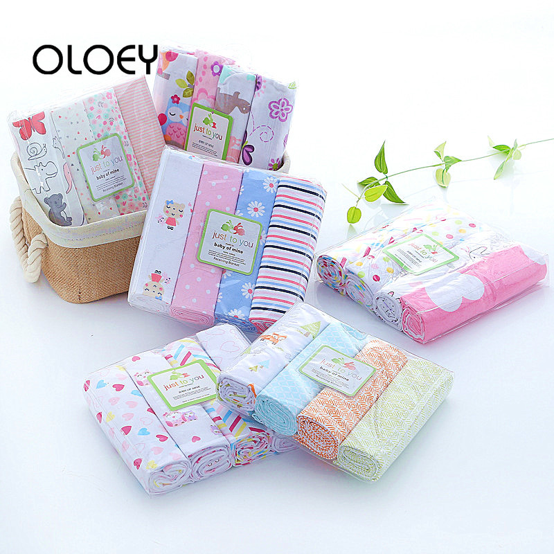 OLOEY 100% Cotton Baby Swaddle Blanket for Newborns 4Pcs/Lot Baby Blankets Newborn Muslin Diapers Photo Kids Muslin Swaddle Wrap