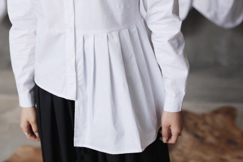 O-hals Hoge blouse Onregelmatige 8