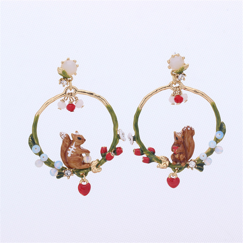 Warmhome Trendy Jewelry Enamel Glaze Squirrel Peach Heart Asymmetrical For Women Earrings trendy letter heart round rhinestone bracelet for women