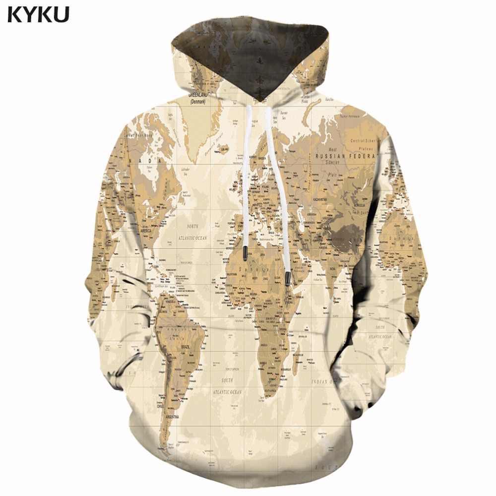 a7c1d7d686e76 KYKU World Map Hoodie Men Print Sweatshirt Hooded 3d Anime Hoodies Vintage  Pattern Hip Hop Mens
