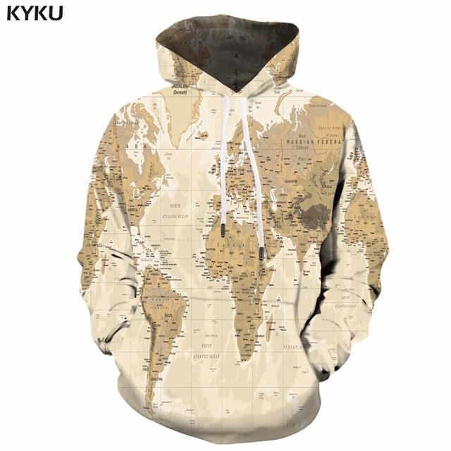kyku world map hoodie men print sweatshirt hooded 3d anime hoodies