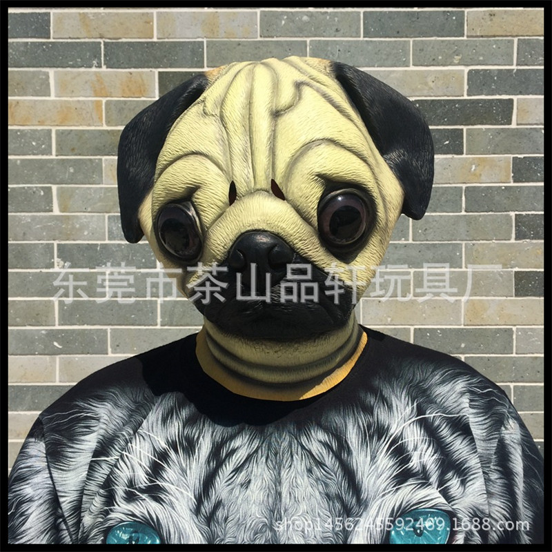 New Realistic Pug Dog Head Mask Full Face Adult dog Mask Breathable Halloween Masquerade Fancy Dress Party Cosplay Costume pug