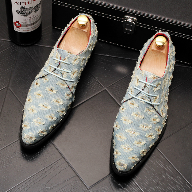 Hommes mode soirée discothèque robe rappé denim chaussures bout pointu en détresse chaussure à lacets personnalité zapatos de hombre sneaker