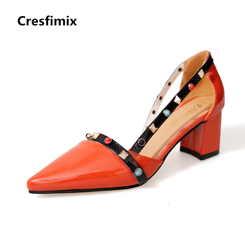 Cresfimix women fashion cute pu leather high heel pumps with rivet lady spring & summer slip on high heels female fashion shoes cresfimix women fashion