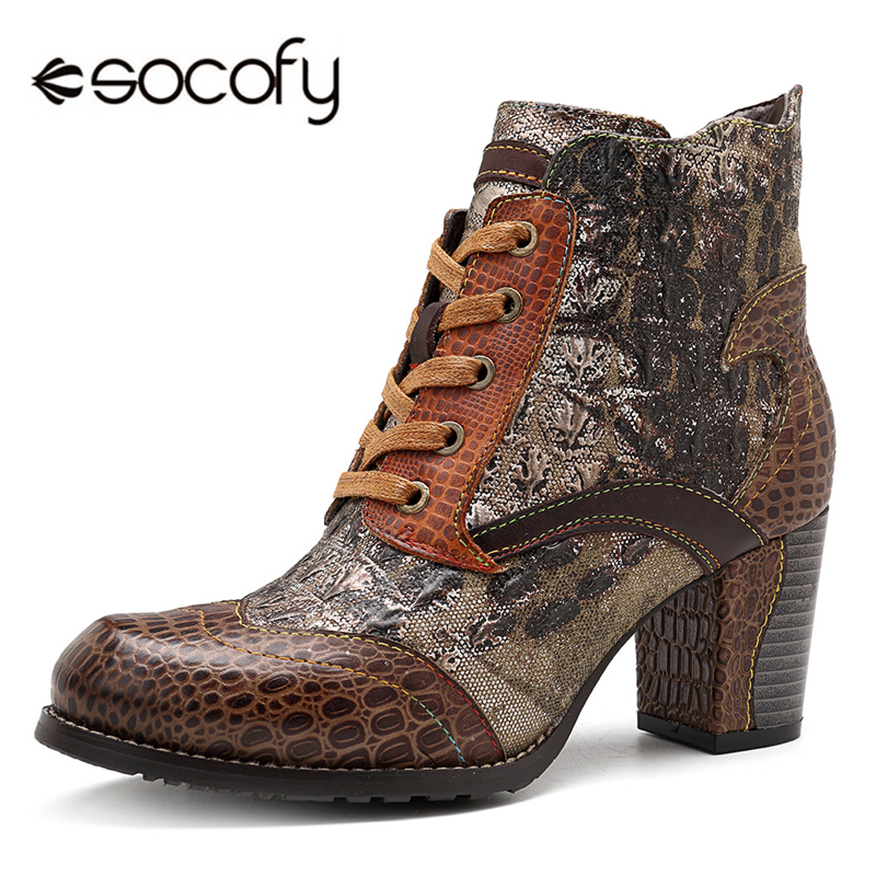 Socofy Retro Winter Women Boots Genuine Leather Splicing Knight Ankle Boots For Women Shoes Woman Autumn Block High Heels Botas autumn winter black white high heels knight boots real leather shoes british retro metal decor pointy toe ankle boots for women