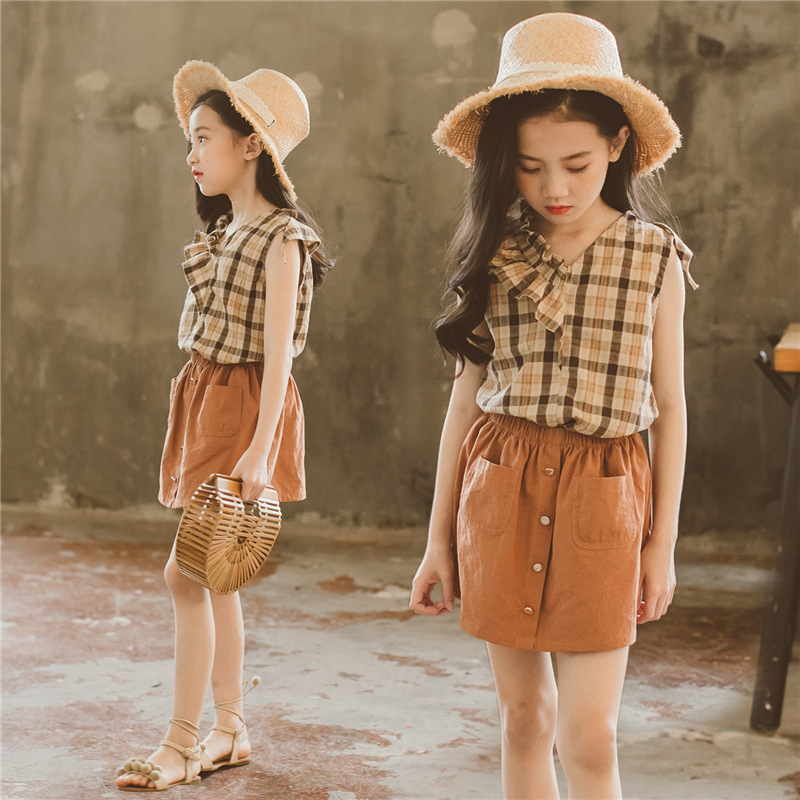 Brand 2018 New Kids Summer Clothes Set Children Two Pieces Set Cotton Ruffles Girl Suit Baby Plaid Set Toddler Shirt Skirt,#3081 chamsgend summer kids cute baby girls vest pleated dress two pieces set clothes children skirt suit jan7 s25