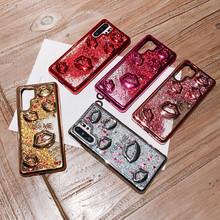 Luxury Plating Phone Case 3D Sexy Lips Flowing Liquid Cover For Huawei P30 Pro Lite Anti-fall Soft Shell Back Protect Capa Funda