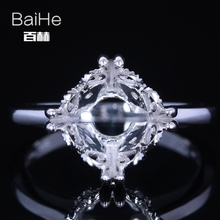 BAIHE Solid 14K White Gold Certified Round Cut Engagement Women Classic Fine Jewelry Elegant unique Semi Mount Gift Ring