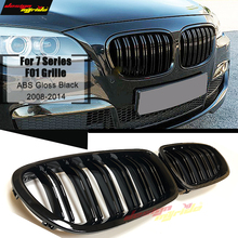 A Pair F01 Front Grille ABS Gloss Black For Grills M-Style 740i 740Li 745i 750i 760Li Dual Slats Kidney 2008-14