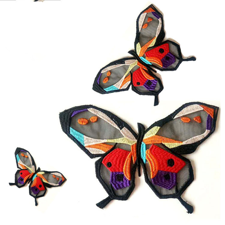 1Pcs Embroidery Butterfly Lace Fabric Patch,DIY Lace Fabric Patching Neckline Clothing Applique Sewing Craft