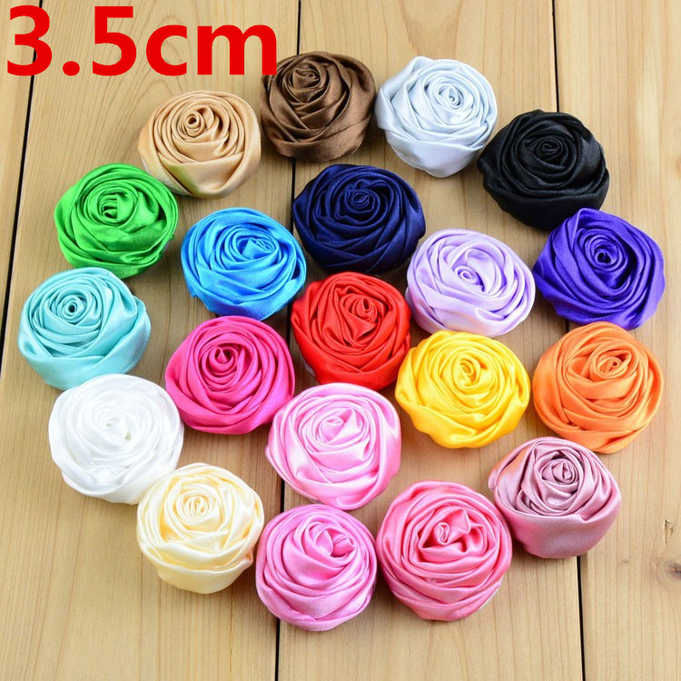 200pcs lot 29Colors 3 5cm Summer Dress 3D Floral Satin Roses Flowers For girl Headband Kids