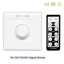 BC AC85-265V Wall-mounted Knob style led PWM 5V/PWM 10V Signal Dimmer Controller+IR remote use for strip tape