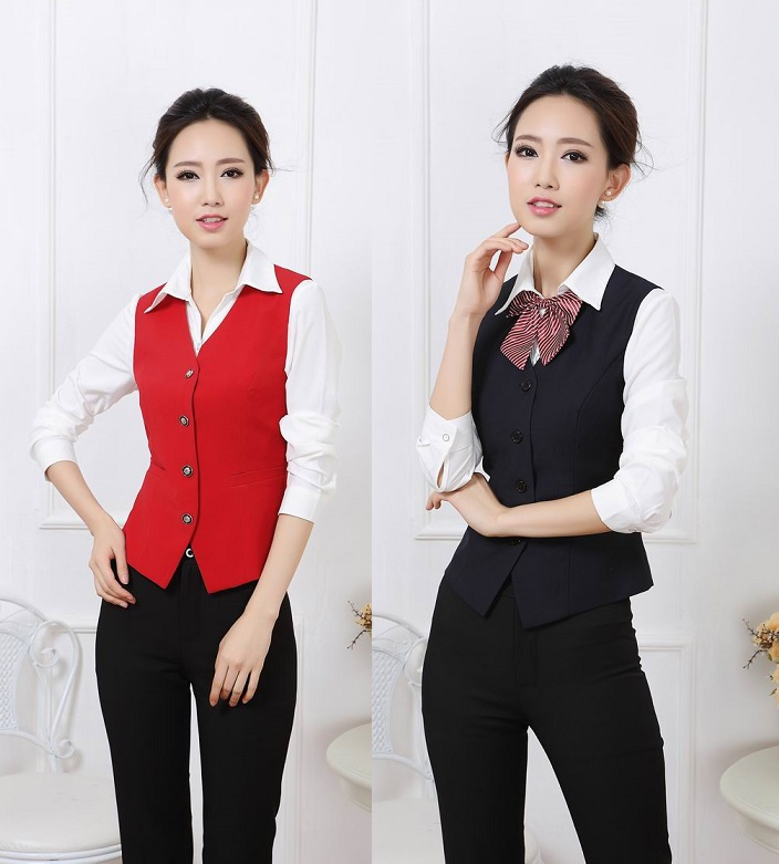 Formal Pantsuits Uniform Style For Business Women Suits 2015 Spring Autumn Office Work Wear Suits With Vest And Pants Ladies Set