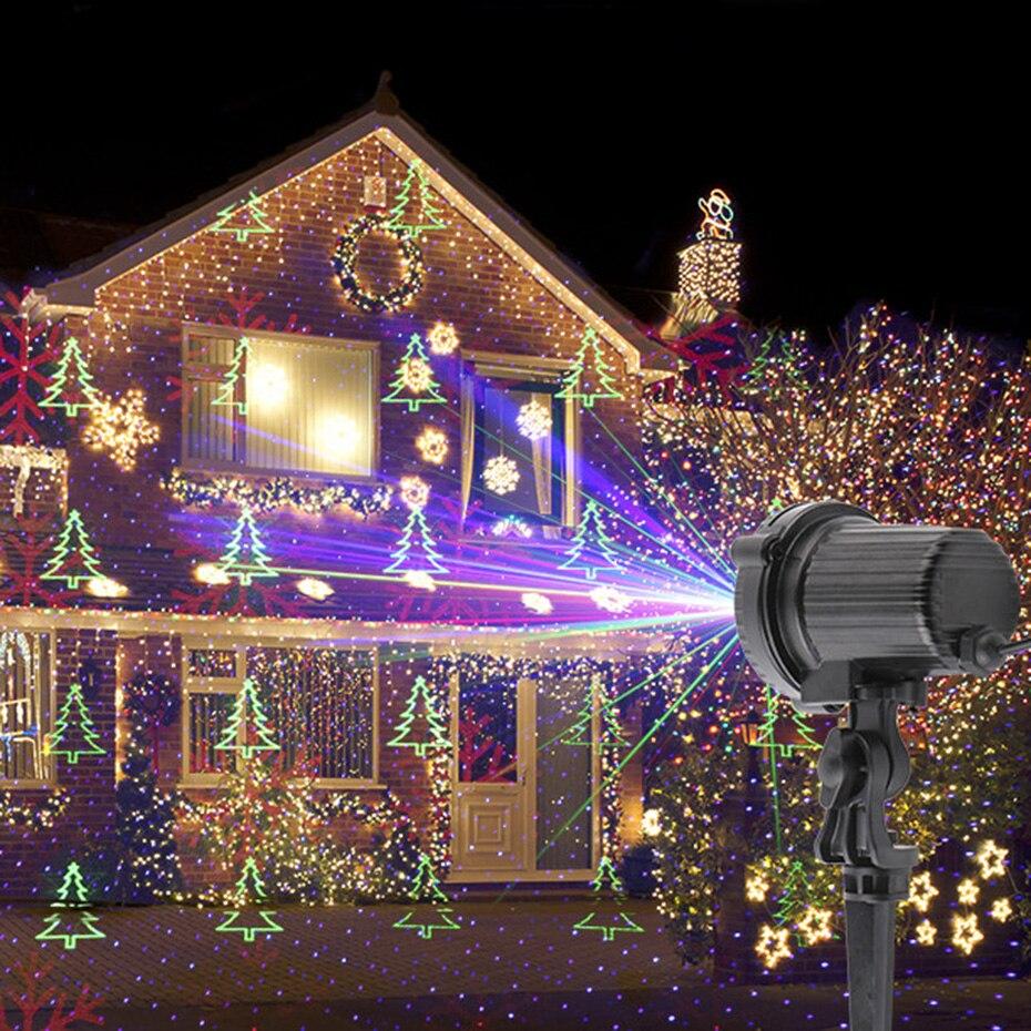 Proyector de luz láser de copo de nieve árbol de Navidad estrella estática remoto RGB exterior impermeable Navidad vacaciones luces de Ducha - 5