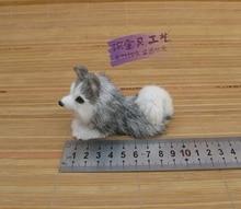 mini simulaiton lying husky dog toy polyethylene&fur cute small husky dog doll gift about 10x4x6cm