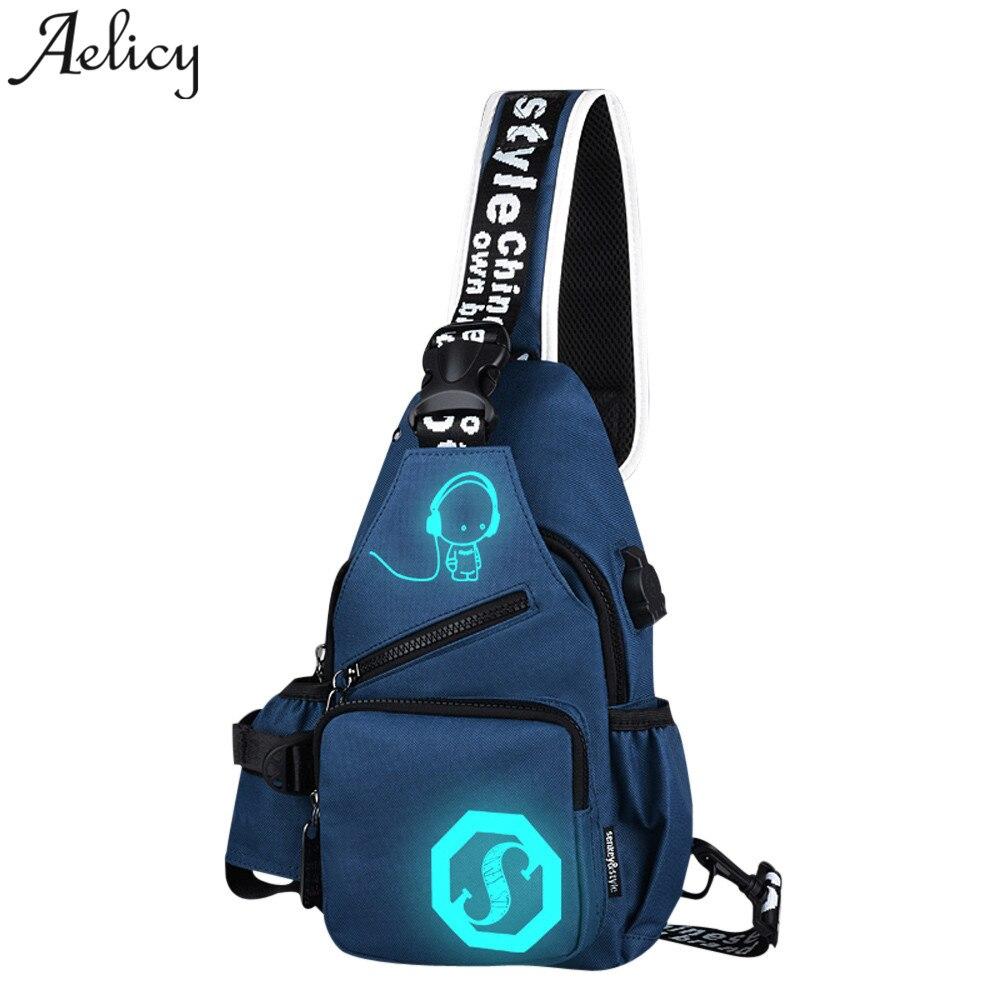 Canvas Shoulder Bags Unisex Light Preppy Teenagers Noctilucent Cartoon Chest Crossbody Bag Bolsos Mujer Bolsas 2018